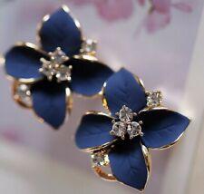 New Fashion Elegant Women Lady Girl Gold Plated Flower Crystal Stud Earrings