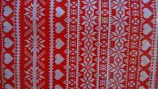 Fairisle Red Cotton PVC Fabric WIPE CLEAN Tablecloth Oilcloth