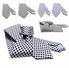 Cravatta uomo bianca a pois blu e neri seta made Italy 5 slim 7 cravatte elegant