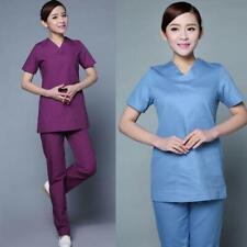 Women Medical Nurse Uniforms Scallop short sleeve Scrubs Sets Size Gifts #8-19
