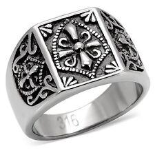 Men's Stainless Steel Master Fleur De Lis Mason Knights Templar Shield Ring