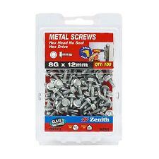 2x Zenith METAL SCREW HEX Head Drive NO SEAL GALVANISED, 8Gx30mm- 30 or 100pcs