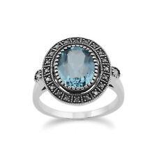 Gemondo Argento Sterling il Topazio Blu & Marcasite stile antico anello di cluster
