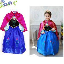 UK Frozen Princess Queen Elsa Anna Cosplay Costume Party Fancy Dress 3-9 Years
