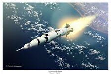"""Apollo To the Moon"" Mark Karvon Giclee Print - Saturn V Rocket"