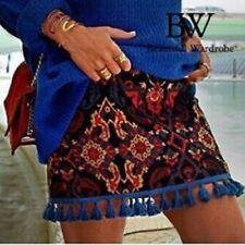 Zara Jacquard Skirt With Pom Poms Size X SMALL SMALL & MEDIUM BNWT