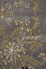 Elegantlinen Embroidery Handmade Jeweled Beaded Placemat Mat Runner Beige Gold