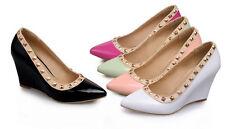 Décollte Zapatos de salón mujer cuña 8 cm charol tachuelas elegantes cómodo 9214