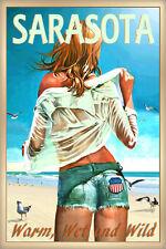 Sarasota Florida New Beach Poster Pin Up Jeans Shorts Seagulls Art Print 267-
