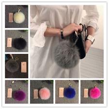 "6"" Large XL 100% Real Fox Fur Leather pom pom Ball Handbag Charm car Key Chain"