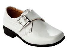 BOYS WHITE PATENT FORMAL WEDDING PAGE BOY CONFIRMATION DRESS SHOES KIDS SIZE 7-2