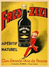 Fred Zizi France French Wine Porto Aperitif Bar Vintage Poster Repro FREE S/H