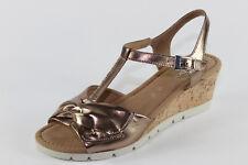 Gabor 843.94, Sandalette mit Metallic Leder u. Korkabsatz, Damenschuhe Übergröße