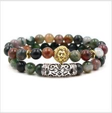 2pcs Men Charm Natural Lava Stone Buddha Lion Leopard Skull Owl Beads Bracelets