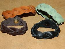 Handmade USA Leather Mystery Braid Braided Cuff Bracelet Mens Womens Black Brown