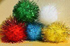 "GLITTER POM POM BALLS 1.5"" 2"" Sparkly Shiny Tinsel LightweightColorful Cat Toys"