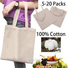 20x 100% Cotton Canvas Reusable Shopping Grocery Bag Tote Bag Reusable&Washable