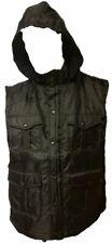 Mens Yago Multi Pocket Black Hooded Vest Stylish Fashion Jacket Detachable Hood