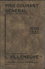 """LIMOGES (87) CATALOGUE de GRAINES POTAGERES & SEMENCES """"L. VILLENEUVE"""" en 1935"""