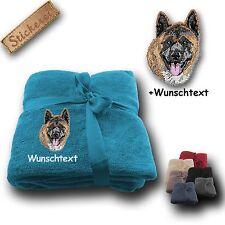 Flauschige Kuscheldecke Decke Hund AKITA +Wunschtext,Stickerei,180x130cm