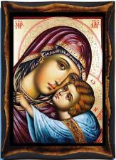 Virgin Mary -The Virgin Glykofilousa (Sweet Kissing Handmade wood icon on plaque