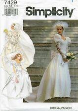 Simplicity 7429 Misses Wedding Bridal gown dress veil pattern rosettes UNCUT FF