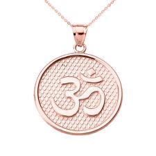 14k Rose Gold Om/Ohm Round Disc Pendant Necklace Yoga and Meditation