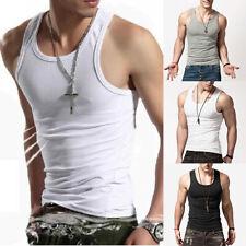 Muscle Tank Vest Mens Top Undershirt Sleeveless Bodybluilding Fitness Casual Tee