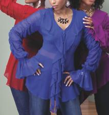 Ashro Lorena Ruffle Top Blouse Summer Pink 8 Orange 16 Blue 14 10 Red 10 22 26