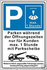 Schild,Parken während der Öffnungszeiten,Parkplatzschild,Parkschild Hinweis,P196