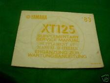 Yamaha XT125 XT 125 Genuino Suplemento Manual 1983