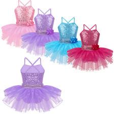 Girls Sequined Ballet Dance Dress Gymnastics Leotard Layered Tutu Skirt Costumes