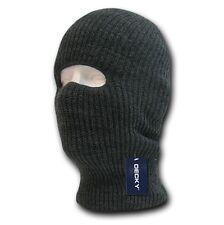 Charcoal Gray Single One 1 Hole Braided Knit Ski Winter Face Mask Masks Beanie