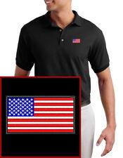 """USA Flag EMBROIDERED Black Polo Shirt """"American Flag"""""""