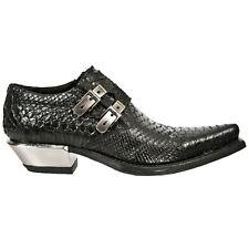 NEWROCK New Rock 7934-S2 Metallic Black Leather Buckle West Steel Heel Shoes
