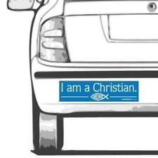 "I Am Christian Bumper Sticker (Pair)  3"" x 11.5"" - FREE SHIPPING"