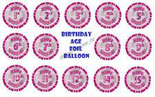 Glitz Pink Birthday Age Foil Balloon Party Supplies Decoration First Helium Girl