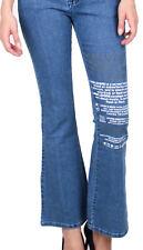 Damen Jeans Bootcut Hose 100 % Baumwolle Stonewashed Hüfthose Loose Fit Western