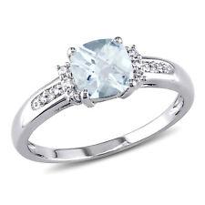 Amour 10k White Gold Aquamarine and Diamond Ring