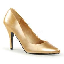 """PLEASER Sexy 4"""" High Heel Gold Matte Women's Pumps Shoes Evening VAN420/G/PU"""