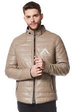 Hommes Matelassé Beige Stone Veste | en cuir italien Fashion Icon Jacket NV-89