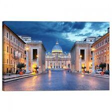 Quadro Stampa su Tela con Telaio Citta del Vaticano durante la notte Roma