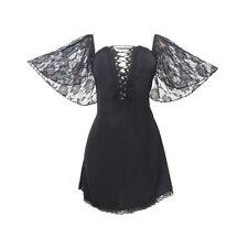 Lady Lace Dress Nightdress Plus Size Sleepwear Sexy Bodycon Lace Up Gothic Dress