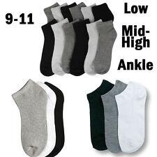 Men Women 9-11 Crew Ankle Low Cut Sports Socks Black White Gray 3 6 12 Pairs New