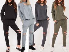 Choker Neck Hooded Tracksuit 2 Pc Co-Ord Set Womens Cotton Loungewear Gift idea