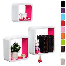 Set of 3 Floating Wall Shelf Floating Shelves Storage Lounge Wood Cube  s17