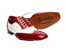 hombre rojo y blanco Borsalino Forro De Piel Charol Zapatos Vestir Boda RU 6 -12