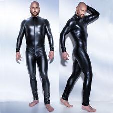 Men Sexy PVC Catsuit Front Zipper Fetish Hen Gay Male Clubwear party Jumpsuit