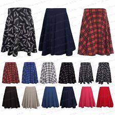 Ladies Women's Plain Stretchy Elasticated Flared Skater Skirt Plus Size 14-28