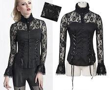 Chemise gothique lolita burlesque dentelle laçage col montant victorien Punkrave